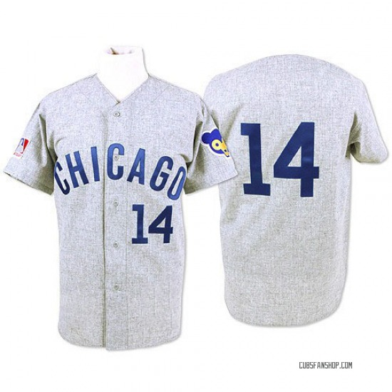 Ernie Banks Chicago Cubs Authentic Throwback Mitchell and Ness Jersey - Grey